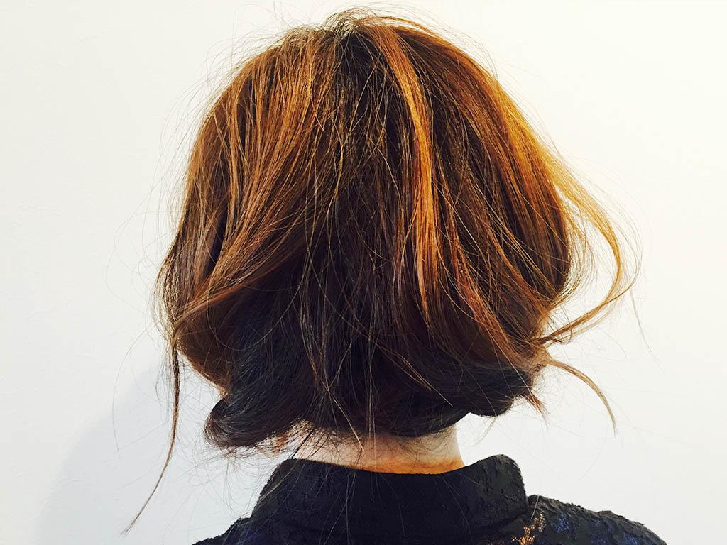 くるりんぱでセミロングの髪をボブ風に☆4