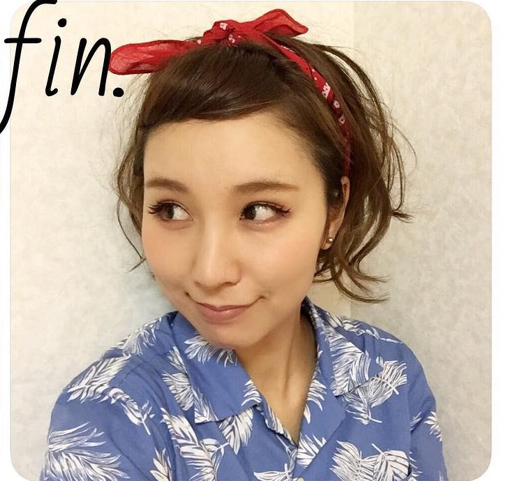 短くてもできる☆夏のバンダナアレンジ6
