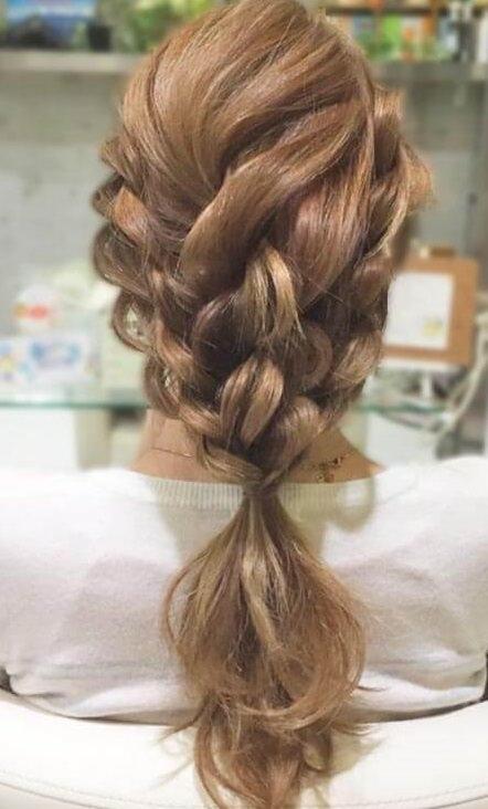 ロープ編みだけ☆簡単お出かけアレンジ4