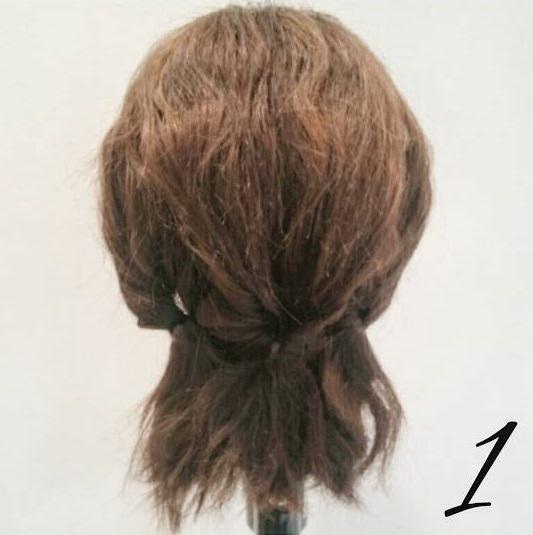 くるりんぱ×ロープ編みでまとめ髪アレンジ1