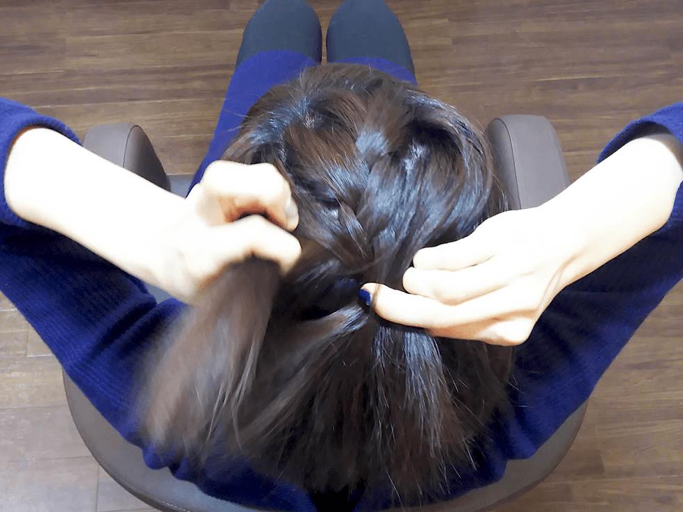 伸ばしかけヘアに使える♪お手軽編み込みハーフアップ3