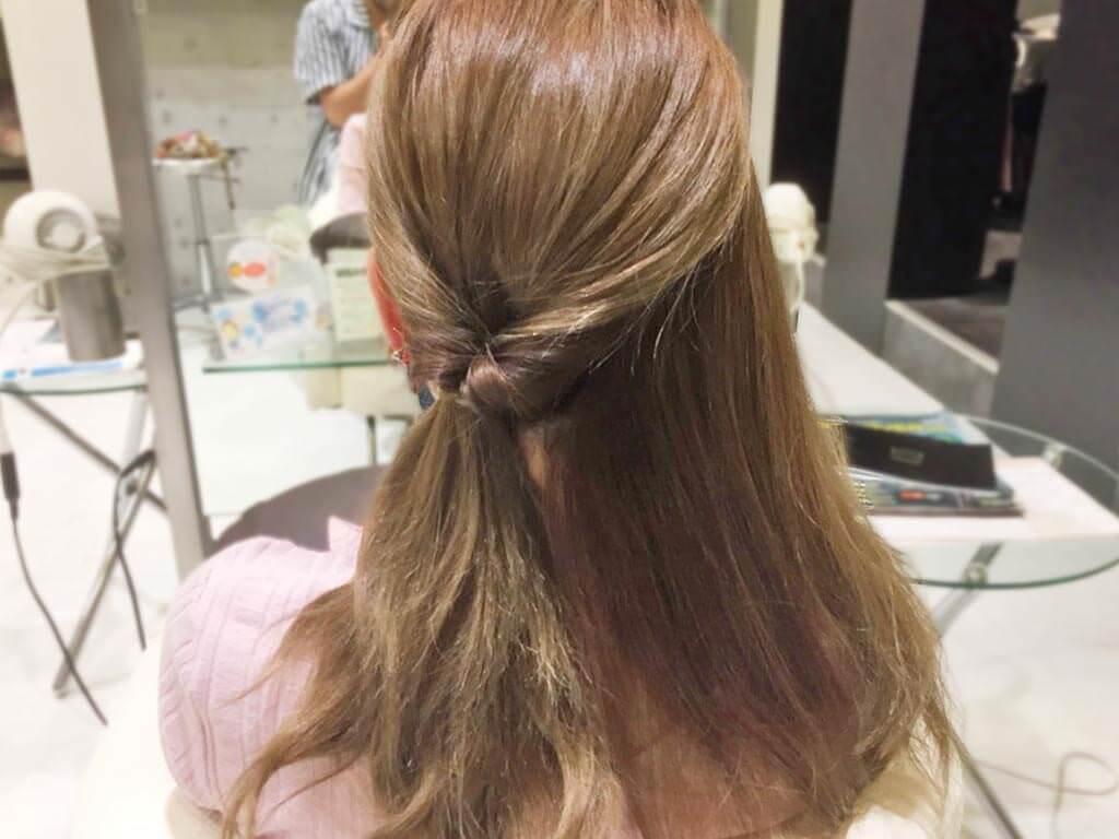 三つ編み×くるりんぱで作る簡単まとめ髪の作り方☆2