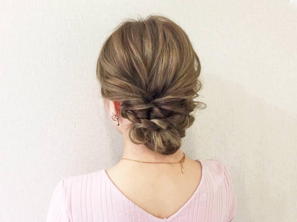 三つ編み×くるりんぱで作る簡単まとめ髪の作り方☆1