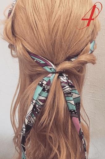 スカーフを使ったハーフアップ☆4