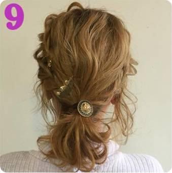 前髪編み込みが可愛い♪ローポニーアレンジ9