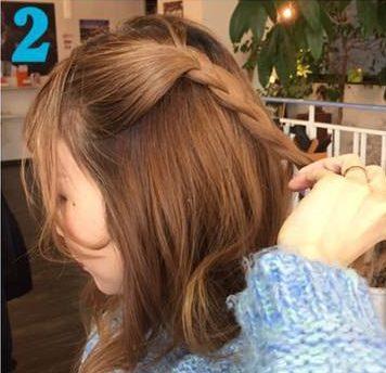 ガーリーな三つ編みハーフアップ♥2