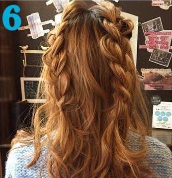 ガーリーな三つ編みハーフアップ♥6