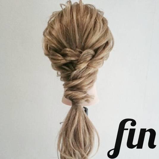ロープ編みで出来る☆大人女子の簡単パーティスタイル4