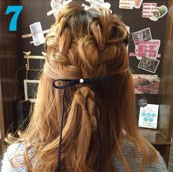 ガーリーな三つ編みハーフアップ♥7