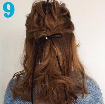 ガーリーな三つ編みハーフアップ♥9