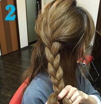 簡単三つ編みまとめ髪♪2