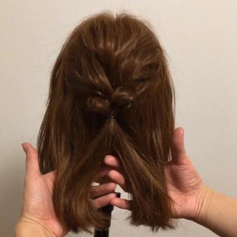 髪が短くても出来る!編み込みアップアレンジ1