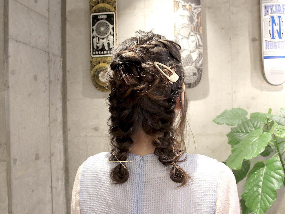 二つ分け編み込みヘアアレンジ☆ガーリー系6