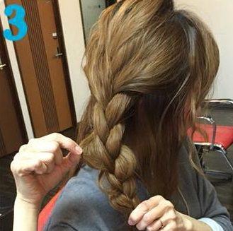 簡単三つ編みまとめ髪♪3