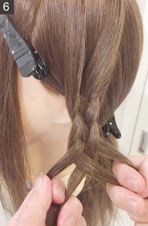 アレンジ上級編!平四つ編みの編み方☆6