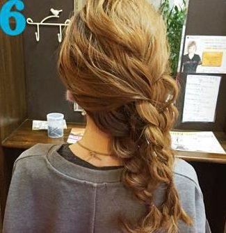 簡単三つ編みまとめ髪♪6