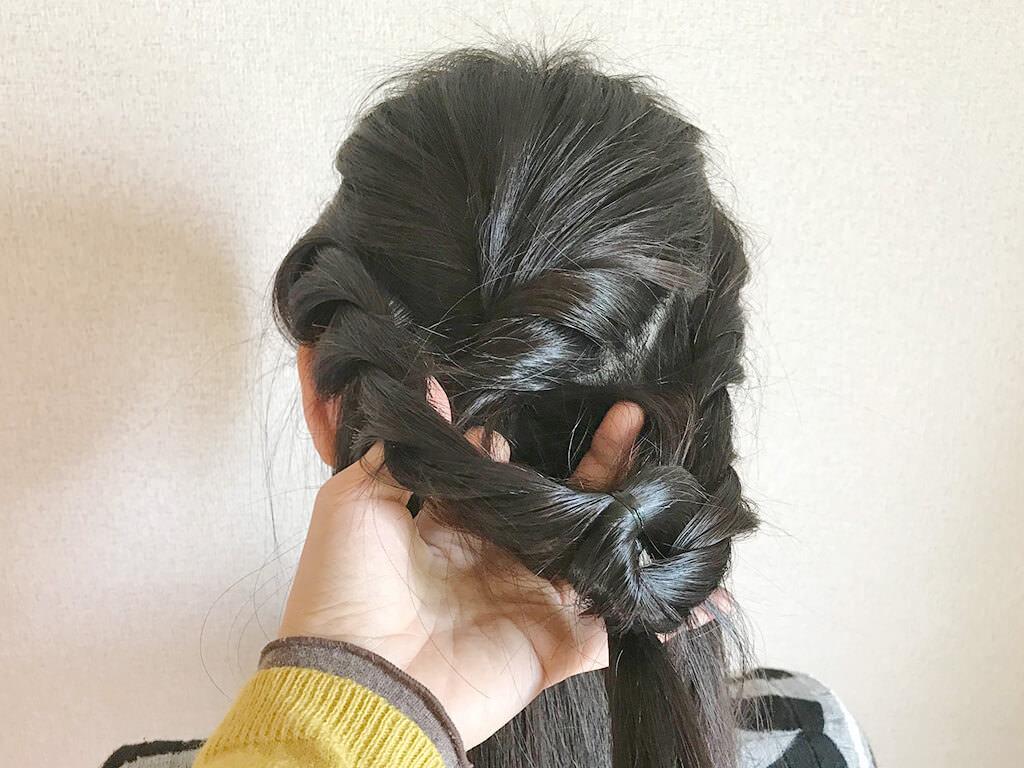 ねじり編みにひと工夫☆お嬢様風ダウンスタイル6