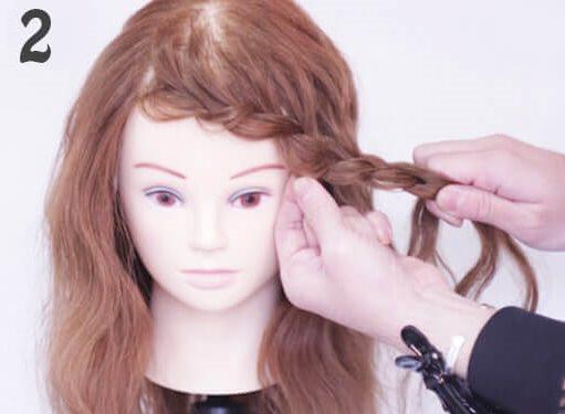 長めの前髪だから出来るふんわり片編み込み2