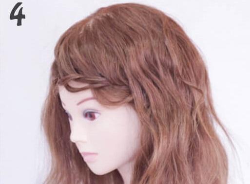 長めの前髪だから出来るふんわり片編み込み4