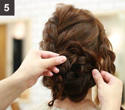 見る角度によって雰囲気が変わる☆編み込みで作るまとめ髪5