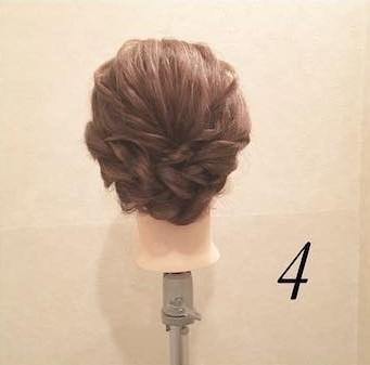くるりんぱとロープ編みで作る☆簡単まとめ髪アレンジ4