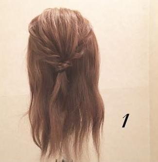 くるりんぱとロープ編みで作る☆簡単まとめ髪アレンジ1