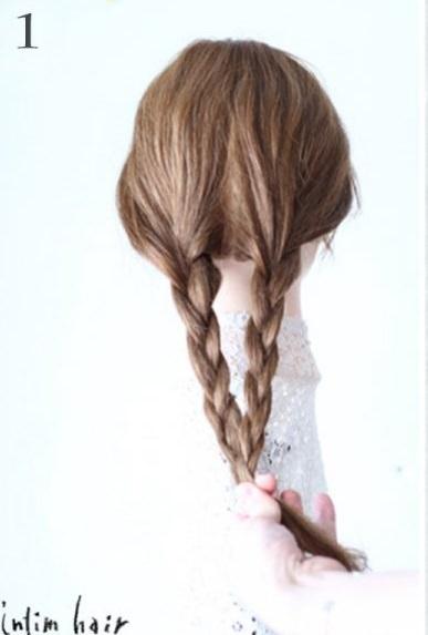 リボン三つ編みでつくる、ガーリーなヘアスタイル1