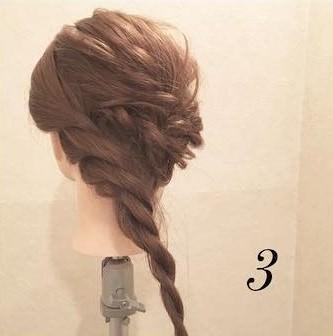 くるりんぱとロープ編みで作る☆簡単まとめ髪アレンジ3