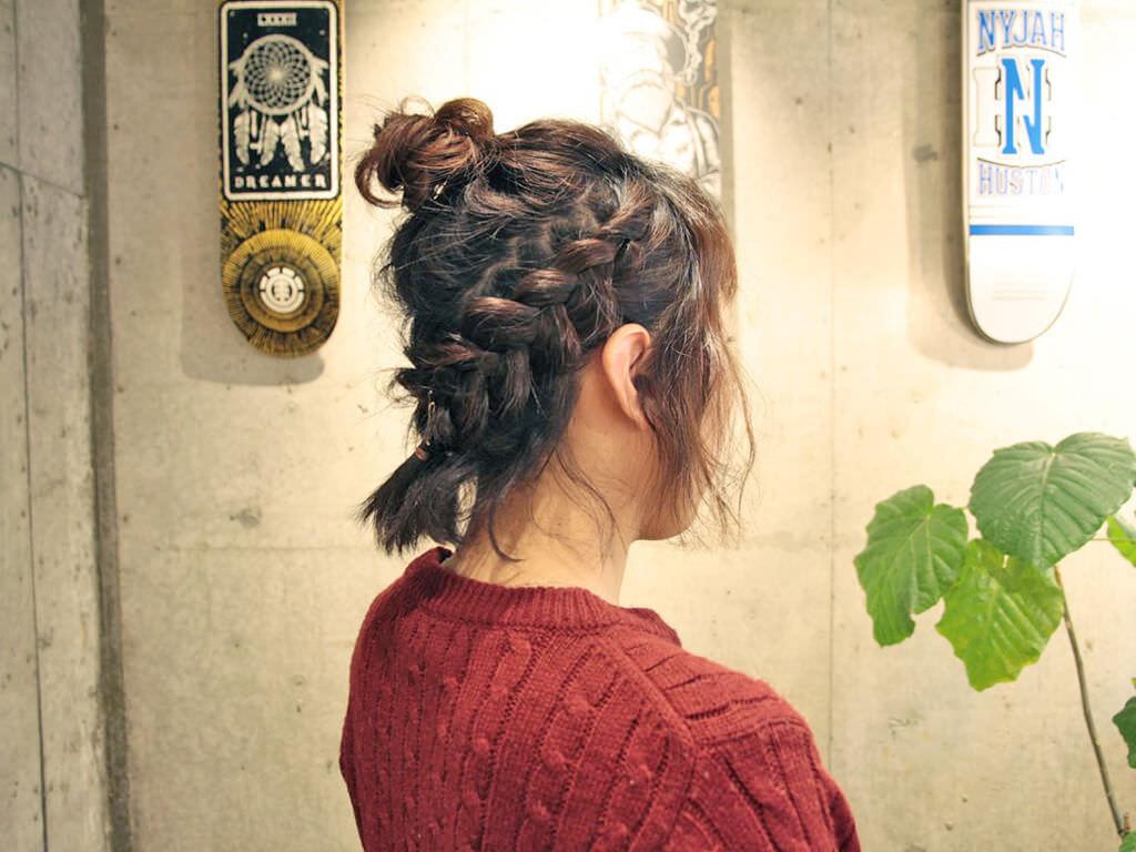 短い髪で魅せる!お洒落編み込みアレンジtop