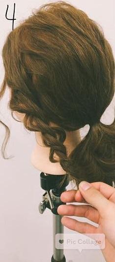 ミディアムヘアにぴったりのロープ編みローポニテ♪4