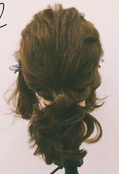 ミディアムヘアにぴったりのロープ編みローポニテ♪2