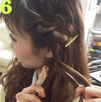 三つ編みで簡単編み込み風アレンジ☆6