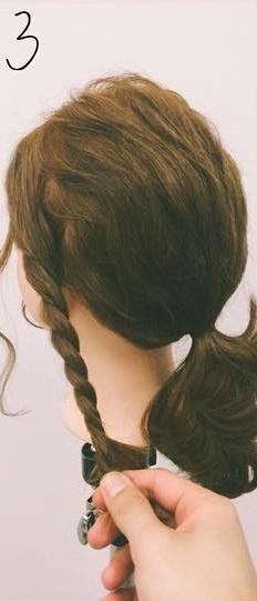 ミディアムヘアにぴったりのロープ編みローポニテ♪3