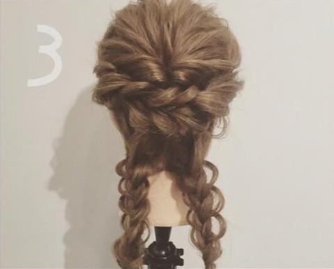 三つ編み&くるりんぱdeゴージャスまとめ髪3