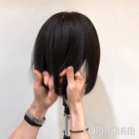 切りっぱなしボブから簡単にまとめ髪が作れる!1