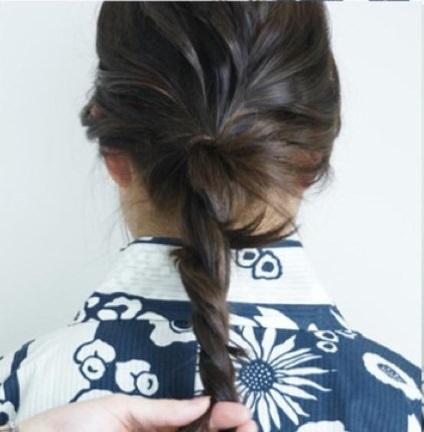 浴衣にとっておき☆ロープ編みで作るまとめ髪4