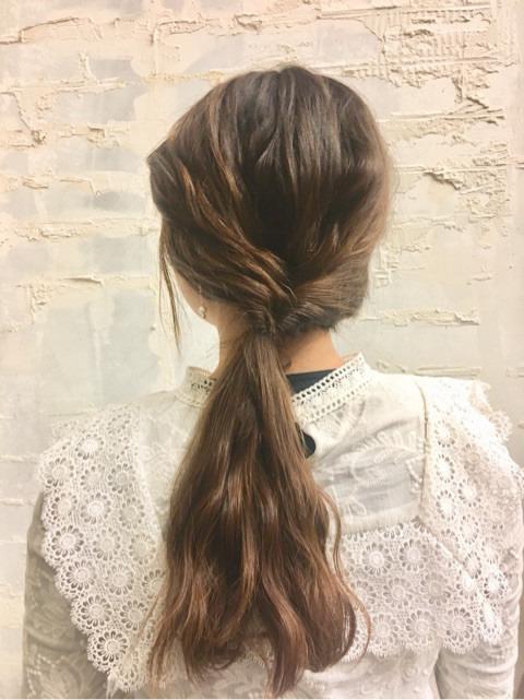 くるりんぱと三つ編みで簡単まとめ髪☆2