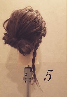 ロープ編みで簡単アンニュイなまとめ髪♪5