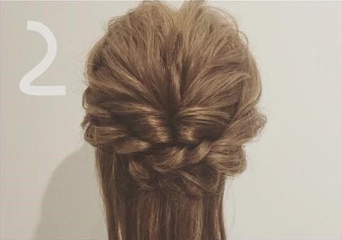 三つ編み&くるりんぱdeゴージャスまとめ髪2