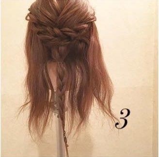 横顔美人♡サイド三つ編みの浴衣ヘア3