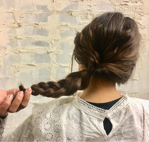 くるりんぱと三つ編みで簡単まとめ髪☆5