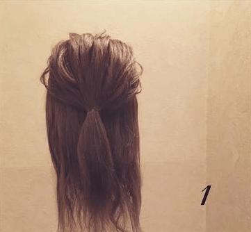 ロープ編みで簡単アンニュイなまとめ髪♪1