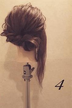 ロープ編みで簡単アンニュイなまとめ髪♪4