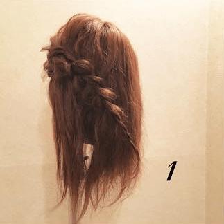 編み込みが大人カワイイまとめ髪1