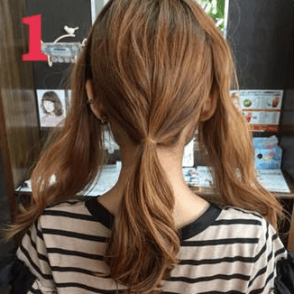 ねじって、くずして、簡単華やかまとめ髪1
