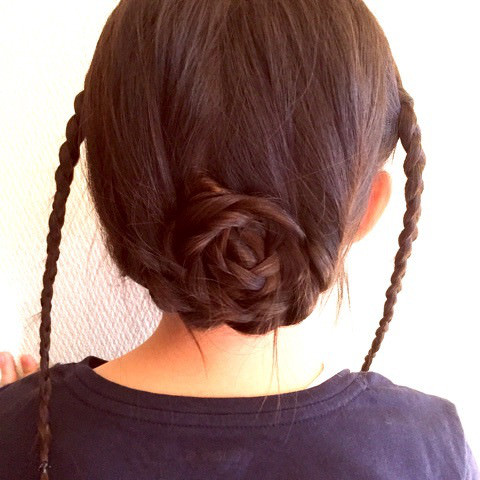 巻きつけ三つ編みdeまとめ髪2