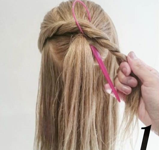 ロープ編み&ポニーテールプロセスヘア☆1