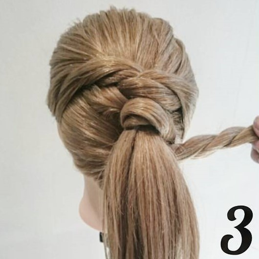 ロープ編み&ポニーテールプロセスヘア☆3