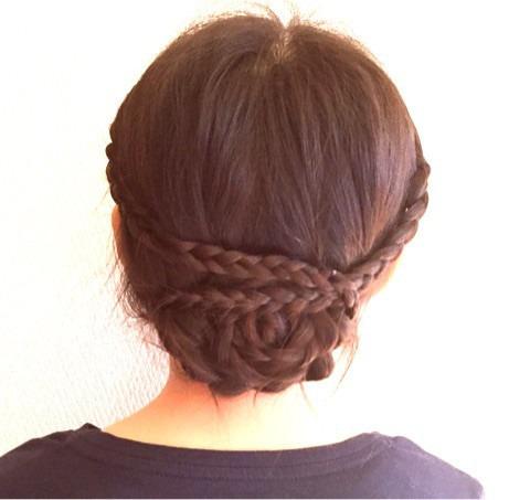 巻きつけ三つ編みdeまとめ髪4