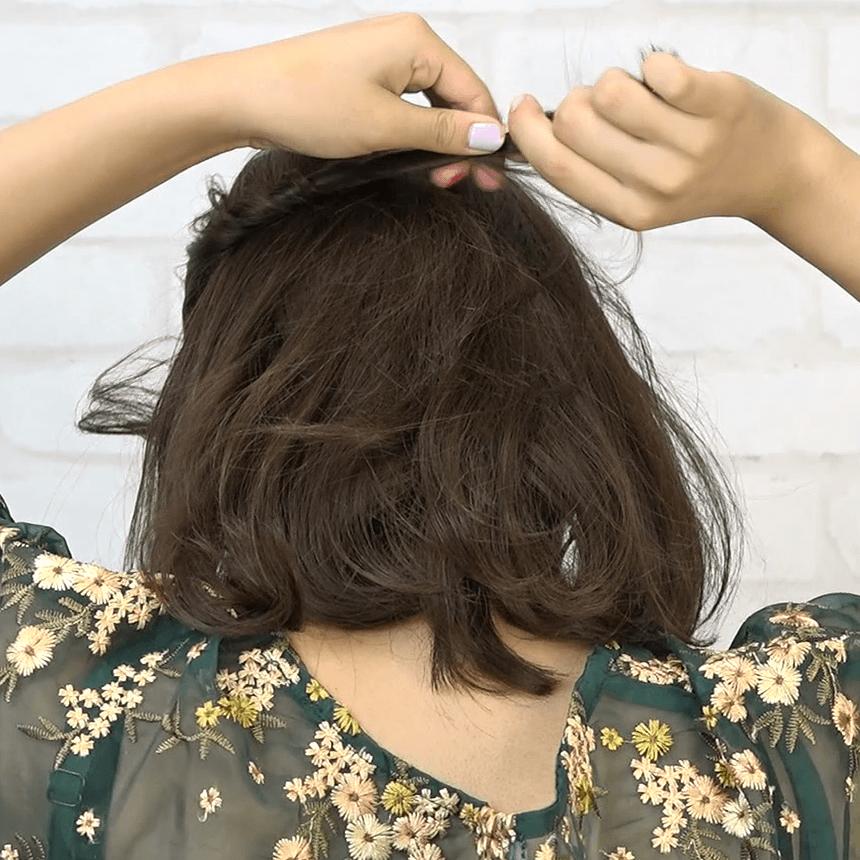 編み込み一切不要!ねじりだけで作れるまとめ髪1